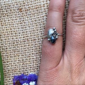 Sterling & Hematite Squash Blossom Ring